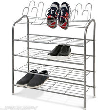 18 Pair Shoe Rack 4 Tier Shoes Storage Iron Organiser Shelf Holder Stand Silver
