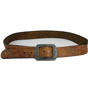 """Fossil Womens Belt M Brown Leather studded silver tone  boho  Floral 32"""" 35"""""""