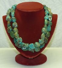 Vtg Chunky Turquoise Nugget 2 Strand Necklace w/ Sterling Silver Clasp & Beads