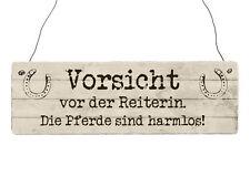 INTERLUXE Holzschild VORSICHT VOR DER REITERIN *DIE PFERDE* Stall Reiterhof