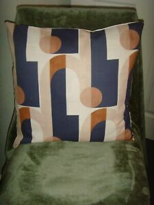 """MADE in JOHN LEWIS 'ARCADE' ART DECO GRAPHIC BLUE BEIGE CUSHION COVER 16"""" pad"""