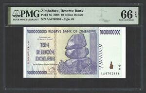 Zimbabwe 10000000000 Dollars 2008 P85 Uncirculated Grade 66