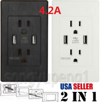 2 PCS 4.2A Outlet 2 USB Port Wall Socket Charger AC Power Receptacle Plate Panel