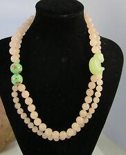Estate Gorgeous Carved Jade Monkey Pink Rose Quartz Bead 118.5 Gram Necklace