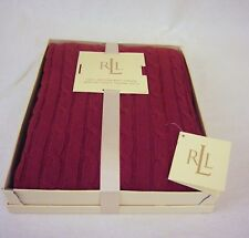 """Ralph Lauren Cotton Throw Blanket 50"""" x 70"""" Cable Knit Red RL Gift Box"""