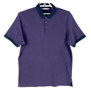 Travis Mathew Mens Golf Polo Shirt Purple Short Sleeve Stretch Slit Collared L