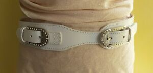neu: BERGÉ Gürtel (uvp ca.175€) made in Italy weiß 90cm Leder Luxus Strass Belt