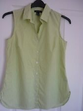 Lands 'End Grün & Elfenbein Tiny kariert ärmellos Shirt Top UK 10, EUR 36-38, US 6
