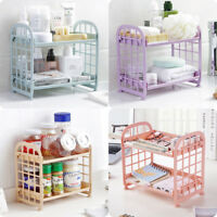 2Tier Plastic Freestanding Storage Rack Durable Bathroom Storage Organizer Shelf