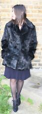 VTG Black rabbit coney fur jacket/short coat size S