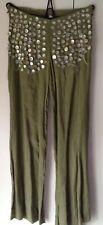 NUOVO senza etichetta, Pantaloni di lino verde, NOLITA, taglia 10