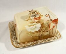 Antique CHEESE BUTTER Covered DISH Nippon Hand Painted Poppies Heavy China POPPY
