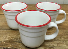 Thomson Pottery Red White Stripe 3 Coffee Mugs Ridges Thin Band Heavy Cup NICE