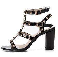 Womens Studded Ankle Strappy Peep toe Block High Heels Rivet Gladiators Sandals