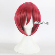 Straight Wine Red Short Basic Anime Halloween Cosplay Wig Hair Heat Resistant