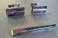 Russian Soviet Silver Cufflinks Tie bar Pink Rhodonite stone 875 Запонки Серебро