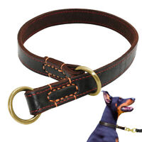Genuine Leather Dog Collar Slip Choke Training Collar for Medium Large Dogs M-XL