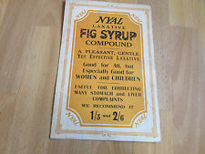 NYAL Laxative Fig Syrup Compound Original c 1920's Chemists Advertising Showcard
