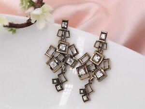 Earrings Clips Golden Pendant Art Deco Chandelier Metal Original A4