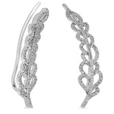 0.26 CT 14K White Gold Round Cut Diamond Ladies Leaves Ear Cuff Climber Earrings