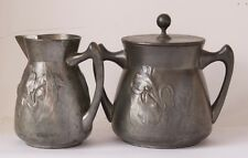 Antique German Art Nouveau Milk and Sugar Kayserzinn #4189 1890s