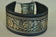 Hundehalsband/Windhundhalsband echt Leder mit gewebter Bordüre nach Ihren Maßen