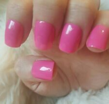 Hand Painted Hot Pink False Nails. 20 Short Square Press-on Nails. Glossy.