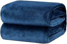 Bedsure Flannel Fleece Luxury Blanket Navy Queen Size Lightweight EL0922