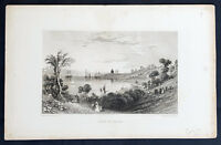 1847 William Bartlett Antique Print View of Pylos, Messenia, Peloponnese, Greece