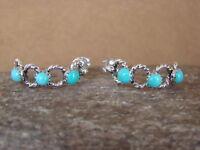 Native American Jewelry Sterling Silver Turquoise Rope Pattern Hoop Earrings! Na