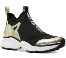 NIB Size 9 Michael Kors Willow Black Gold Slip On Trainer Sneaker Scuba
