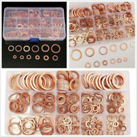 280Pcs Assorted Solid Copper Car Engine Crush Washers Seal Flat Ring Gasket Set