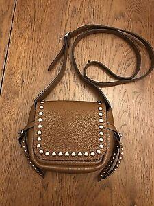 Coach Rivets Dakotah Brown Pebble Leather Crossbody /Shoulder bag