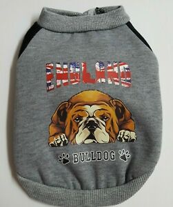 Puppy Dog Baby Sweatshirt Shirt Sweater England Bulldog Gray Snap Up Back Small