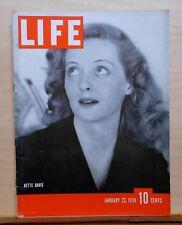 Life Magazine - January 23, 1939 - Bette Davis cover and story - Coke ad