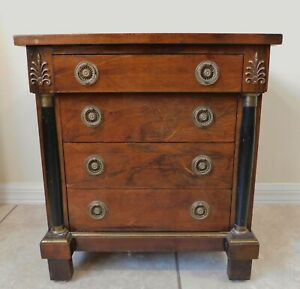 Antique/Vtg Small Black Column Wood Chest of 4 Drawers Side/End Table Nightstand