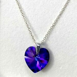 925 Silver Necklace Pendant Heart Purple Gift Box  Made With Swarovski® Crystals