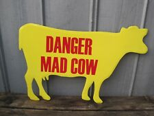 "Large 32"" Danger Mad Cow Metal Wall Sign Primitive Country Farm Sign B9270"