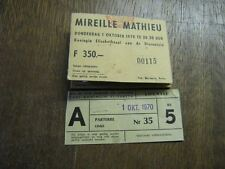 MIREILLE MATHIEU BILLET DE SPECTACLE BELGIQUE 1970 2