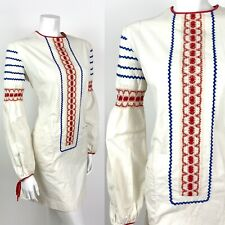 VTG 60s 70s CREAM RED BLUE RIC RAC CROCHET FOLK COTTON MINI SHIFT DRESS 12 14