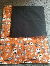 the nightmare before Christmas baby blanket. Orange with 2 matching burp cloths