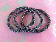 Metallic Gunmetal Black Bracelets Set, just roll on, Japanese Beads Nepal,MB38