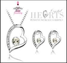 18k white gold Bridal set Wedding jewellery heart pendant necklace earrings sw3