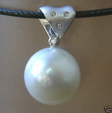 15.2mm!! AUST SOUTH SEA PEARL +DIAMONDS +18ct WHITE GOLD PENDANT +CERT AVAILABLE