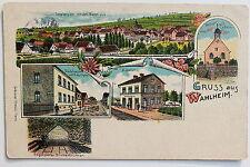 17372 Litho AK Gruß aus Wahlheim Kr. Alzey Bahnhof Schulhaus Häuser 1906-1915
