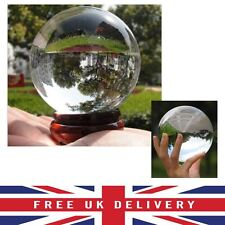 100MM Clear Crystal Ball Asian Natural Quartz Magic Healing Stress Meditate Wood