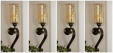 """FOUR JOSELYN XXL 30"""" AGED BRONZE FORGED METAL GLASS WALL SCONCE CANDLE HOLDERS"""