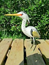 More details for fair trade hand carved made wooden heron wader bird ornament statue sculpture