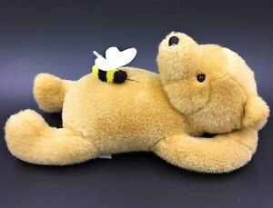 """Gund Disney Winnie The Pooh 10"""" Classic Soft Toy Laying Down With Bee On Belly"""
