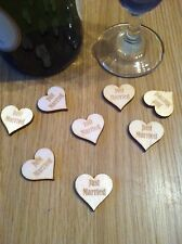 X50 Personalised wooden Heart Table Confetti, wedding, party, favours